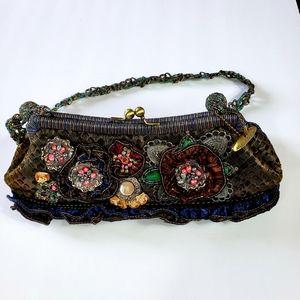 Mary Frances Green/Navy Floral Beaded Shoulder Bag